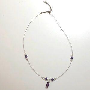 "🎁FREE with $15/ Choker ""purple & clear beads"""